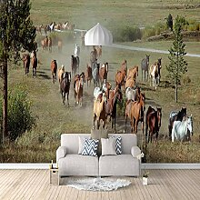 Fototapete Pferde auf der Wiese Mauer Fresco Foto