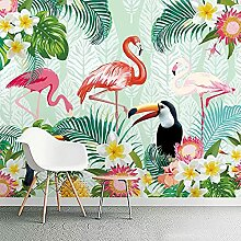 Fototapete Pflanze Papagei Flamingo Hintergrund