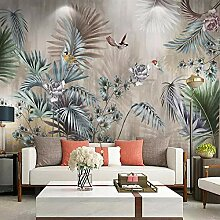 Fototapete Pflanze verlässt Blumen Vögel 3D Wand