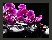 Fototapete Pure Harmonie: Orchidee und Zen-Steine