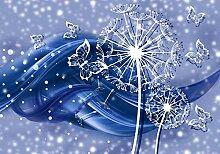 Fototapete Pusteblume Ornament Welle Blau