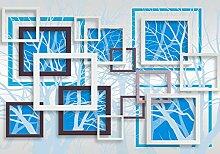 Fototapete Quadrat Zweige Abstrakt 3D Effekt Hell