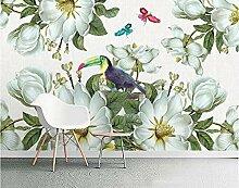 Fototapete Retro Blumen Vögel Tapete Schlafzimmer