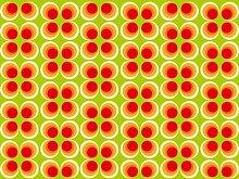 Fototapete Retrokreise Orange Muster KT98 Größe: 350x260cm Retro Muster Tapete Orange