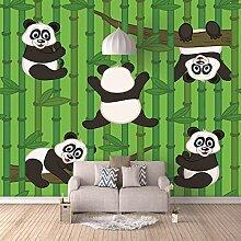 Fototapete Riesenpanda mit grünem Bambus