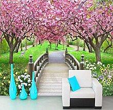 Fototapete Romantische Kirschblüte Holzbrücke