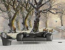 Fototapete Schneewald Tapete Wandbild Schlafzimmer