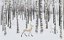 Fototapete Schneewald & Tierhirsch Vlies Tapete