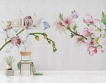 Fototapete Schöne Blumen Und Schmetterlinge