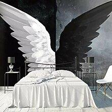 Fototapete Schwarz und Weiß Flügel Vlies Tapete