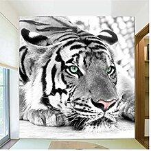 Fototapete Schwarz-Weiß-Tiger Tiere 3D Wallpaper