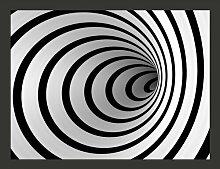 Fototapete Schwarz-weißer Tunnel in 3D 193 cm x