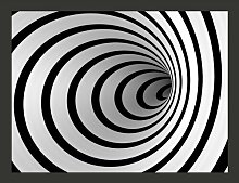 Fototapete Schwarz-weißer Tunnel in 3D 231 cm x