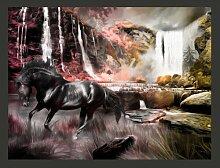 Fototapete Schwarzes Pferd am Wasserfall 309 cm x