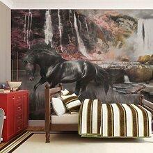 Fototapete Schwarzes Pferd am Wasserfall mehrfarbig
