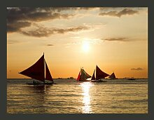Fototapete Segelboote - Sonnenuntergang 193 cm x