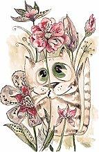 Fototapete selbstklebend Kinderbild - Katze mit