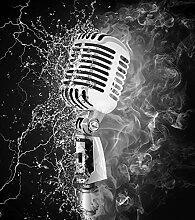Fototapete selbstklebend Mikrofon - Feuer und