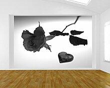 Fototapete selbstklebend Rose mit Herz - schwarz