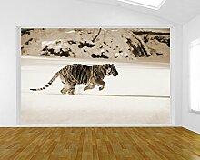 Fototapete selbstklebend Tiger - sephia 155x100 cm