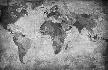 Fototapete selbstklebend Weltkarte Retro - schwarz