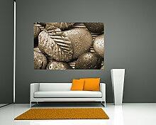 Fototapete selbstklebend Zen Steine mit Blatt -