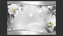 Fototapete Silber abstrakt 280 cm x 400 cm Brayden