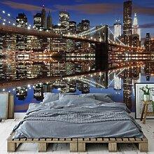 Fototapete Skyline mit Brooklyn Bridge bei Nacht