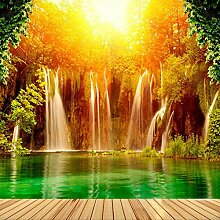 Fototapete Sonnenuntergang Wasserfall 3D
