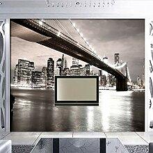 Fototapete Stadt Nacht Moderne Wandbild Tapete 3D