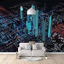 Fototapete Stadt unter Nachtlicht Mauer Fresco