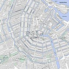 Fototapete Stadtplan von Amsterdam Grau und Blau -