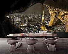 Fototapete Steinmauerhöhle Mit Nachtblick Auf Die