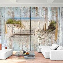 Fototapete Strand Holzoptik Vlies Wand Tapete Wohnzimmer Schlafzimmer Büro Flur Dekoration Wandbilder XXL Moderne Wanddeko - 100% MADE IN GERMANY - Runa Tapeten 9111010a