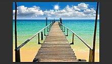 Fototapete Strand, Sonne, Brücke 245 cm x 350 cm
