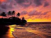 Fototapete Strand Sonnenuntergang Meer 350cm Breit