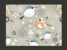 Fototapete Süßes Vogeldesign mit rosarotem
