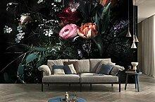 Fototapete Tapete 3D Blumen Tulpen Rose Rot