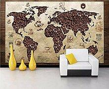 Fototapete Tapete 3d Effekt Kaffee - Weltkarte