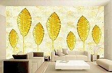 Fototapete Tapete 3D Einfache Goldene Blätter Mit