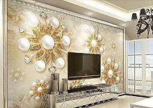 Fototapete tapete 3d Luxusgoldperlenspitzeblume