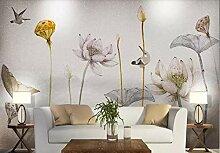 Fototapete Tapete 3D Schöner Lotosblumeneisvogel