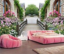 Fototapete Tapete 3D Schönes Blumenhausgebäude
