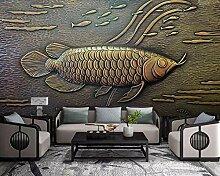 Fototapete Tapete 3D Wandbild Fisch Goldrelief