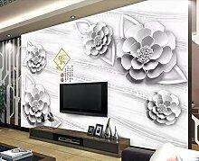 Fototapete Tapete 3D Wandbild Geprägte Blume Grau
