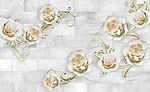 Fototapete Tapete 3D Wandbild Geprägte Blumen
