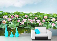 Fototapete Tapete 3D Wandtapete Lotus Teichfisch