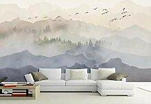 Fototapete Tapete 3D Wandtapete Wald Vogelschwarm