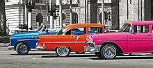 Fototapete Tapete Autos Oldtimer blau orange pink