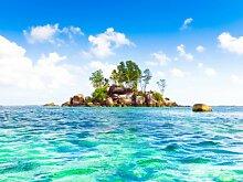 Fototapete Tapete Meer Insel Steine Bäume Foto
